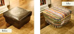 Ottoman Slipcovered with Rag Rugs - need to do this with our torn leather one....great idea!