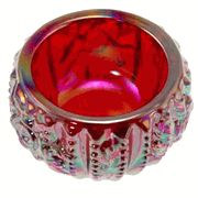 Ruby Red Carnival Glass Rose Lattice Salt Cellar