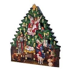 Nativity Tree 2018 Advent Wood Calendar Countdown to Christmas Home Decoration. Full Color H Stand Alone with Full Nativity Scene Painted on The Tree Christmas Countdown, Christmas Home, Wooden Advent Calendar, Christian Devotions, Religious Gifts, Christmas Decorations, Holiday Decor, Nativity, Painting