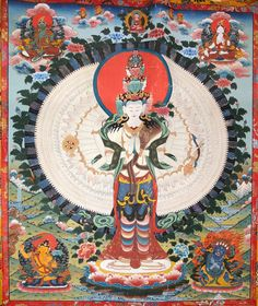 Buddhist Thangka painting, 1000 Armed Chenrezig/Avalokiteshvara, symbolising his endless, bountiful compassion for all sentient beings. HH Dalai Lama is considered to be the incarnation of Chenrezig.