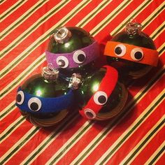 "Teenage Mutant Ninja Turtle Ornaments: Hang these ornaments on your tree, and it will make guests want to cry out ""turtle power""!"