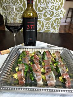 Cabernet Sauvignon paired with Prosciutto-wrapped brussels sprouts #NobleVinesDines #ad #appetizers @NobleVines http://aladygoeswest.com/2015/06/18/entertaining-is-easy-with-these-two-appetizers/