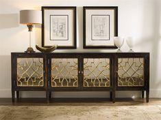 Hooker Furniture Sanctuary Ebony with Mirrored 105''L x 20''W Rectangular Buffet