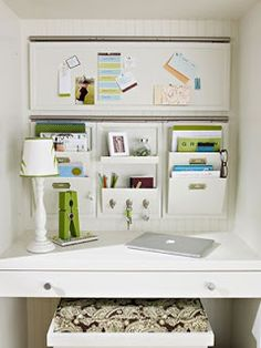 Want to build this tiny office space in the storage closet..plus white walls would make it look bigger!