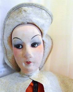 LARGE ANTIQUE CLOTH BOUDOIR STYLE, ART DECO,   DOLL- SOLDIER? FRENCH  PERROQUET?