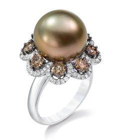 Cellini Jewelers mm brown bronze south sea pearl ring with round cognac ct) in micro pave diamond scallops. Set in 18 karat white gold Pearl Diamond, Pearl Ring, Diamond Jewelry, Gemstone Jewelry, Jewelry Rings, Jewelery, Silver Jewelry, Silver Ring, Women's Rings