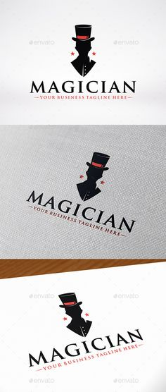 Magician Logo Template — Vector EPS #man silhouette #magic club • Available here → https://graphicriver.net/item/magician-logo-template/12963420?ref=pxcr