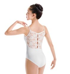Discount Dance Supply - This basic camisole leotard features a dramatic lace back with a pinch key hole detail down the center back seam. Leotard has a ballet cut leg line and front lining. A unique class or performance leotard!