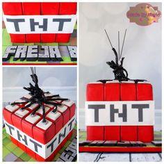 Minecraft TNT Fondant Torte  Motivtorte  Minecraft Cake
