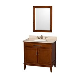 "Hatton 36"" Single Bathroom Vanity by Wyndham Collection - Light Chestnut $799"