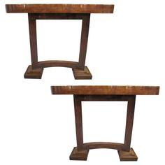 Pair of Petites French Art Deco Cubist Consoles | From a unique collection of antique and modern console tables at https://www.1stdibs.com/furniture/tables/console-tables/
