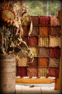 Old Road Primitives: Rag Quilt Tutorial from Old Road Primitives...love the homespun colors in this one