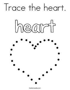 Trace the heart Coloring Page - Twisty Noodle