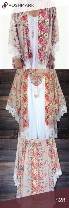 Lace Floral Kimono🎀 So Pretty and Feminine Floral Kimono!! Tan Backround Liteweight thin Loose and Flowy with Crocheted Lace around the bottom and on the sleeves. 🎀 Discounts on a Bundle Tops Camisoles