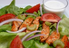 Buffalo Chicken Salad: http://www.achieve-life.com/buffalo-chicken-salad_recipe_2541.htm #health #recipe #salad #weightloss
