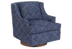$1356   Palisades Swivel Chair, Indigo