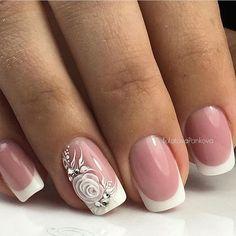 Gel Nail Designs You Should Try Out – Your Beautiful Nails Cute Nails, Pretty Nails, Hair And Nails, My Nails, Nagel Bling, Nails Polish, Wedding Nails Design, Vintage Wedding Nails, French Wedding
