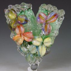 Heart of Flowers 1 bead borosilicate/boro by redsidedesigns, $50.00