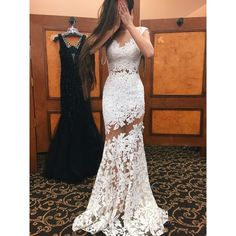 Long Sexy Prom Dress, White Lace Evening Dress, See Through Prom... ❤ liked on Polyvore featuring dresses, lace dress, white cocktail dresses, sexy cocktail dresses, lace cocktail dress and long cocktail dresses