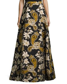 Paisley+Embroidered+Ball+Skirt,+Black/Gold+by+Alice+++Olivia+at+Neiman+Marcus.