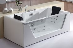 "Eago AM196HO 71"" Acrylic Whirlpool Tub for Free Standing Installation with Rear White Tub Whirlpool Freestanding"
