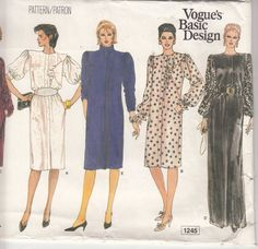 Womens Chemise Dress Asymmetrical Ruffle or Pussy Bow Day or Evening Vogue Sewing Pattern 1245 Size 8 10 12 Bust 31 to 34 FF Vintage Vogue, Vintage Sewing, Vintage Dress, Vintage Patterns, Vintage Fashion, Vogue Sewing Patterns, Sewing Designs, Chemise Dress, 1980s Dresses