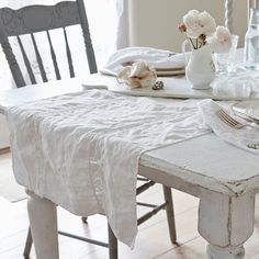Set a lovely table with our Rachel Ashwell Shabby Chic Couture™ Lace Inset White Runner. Coordinates with our Lace Inset napkins and tablecloth. Measurements: x White linen with cotton lace deta Shabby Chic Mode, Shabby Chic Couture, Estilo Shabby Chic, Simply Shabby Chic, Shabby Chic Interiors, Shabby Chic Furniture, Shabby Chic Decor, Shabby Chic Colors, Vintage Interiors