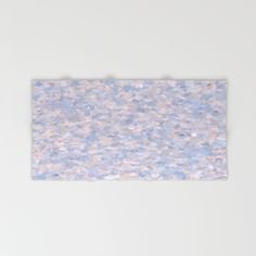 Light pink and blue bath towel with matching shower curtain by khoncepts.com