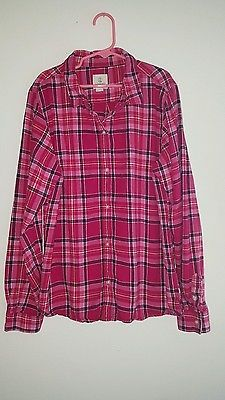 Girls Lands End flannel cowgirl rodeo shirt size 16 pink western country plaid