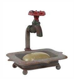 Vintage Water Faucet Iron Soap Holder 7-in