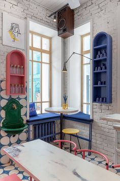 Country Home Interior A Colorful Street Food Restaurant Concept in Moscow - Design Milk Restaurant Concept, Restaurant Design, Moscow Restaurant, Cafe Interior, Interior Design Kitchen, Cafe Design, House Design, Commercial Interiors, Colorful Interiors
