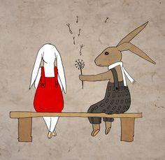 Nursery bunnies art print, Vintage bunny