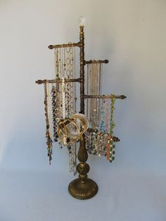 Vintage Roses Jewelry Organizer Necklace Stand Chrub Shabby Chic
