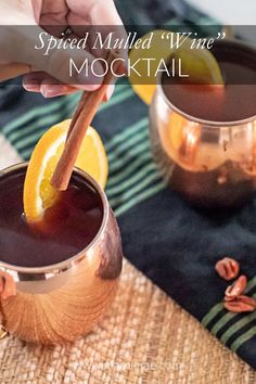 """Made with apple cider and cranberry juice, this non-alcoholic spiced mulled """"wine"""" recipe will keep you warm on crisp fall nights. Mix it up as an after dinner treat or make a large batch for entertaining. Coctails Recipes, Easy Drink Recipes, Alcohol Recipes, Fall Recipes, Wine Recipes, Drinks Alcohol, Recipes Dinner, Non Alcoholic Mulled Wine, Wine Cocktails"""
