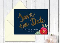 navy and gold wedding invitation, floral save the date, whimsical invitation