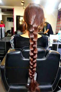 A simple cut to her shoulder blades. Ponytail Updo, Braid Hair, Pigtail Braids, Braids For Long Hair, Plaits Hairstyles, Down Hairstyles, Indian Long Hair Braid, Thick Braid, Long Brunette
