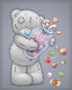 This guy must know my husband who loves candy- tatty Teddy Tatty Teddy, Teddy Bear Images, Teddy Bear Pictures, Nici Teddy, Cute Images, Cute Pictures, Lapin Art, Blue Nose Friends, Love Bear