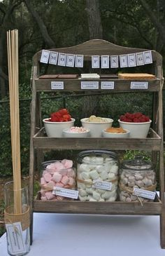Smores bar equipped with Milk, dark, and Cookies Chocolate, Strawberry/Chocolate/Vanilla Marshmallows, and Various Fruit Toppings ! Raspberries, bananas, strawberries... Love Love Love this!!    Hostess with the Mostess - Chili Under the