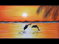 How to paint a scenery of Sunset with oil pastels color...step by step - YouTube