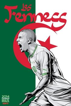 Algeria Poster (FIFA World Cup 2014 - Brazil) by Cristiano Siqueira Cristiano Ronaldo, Brazil World Cup, World Cup 2014, World Cup Teams, Fifa World Cup, Lionel Messi, World Cup Countries, Fifa 14, Fennec