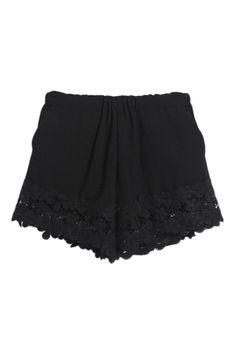 ROMWE | Lace Panel Sheer Black Shorts