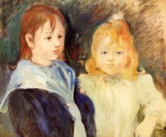 Portrait of Two Children by @artistmorisot #impressionism