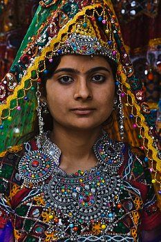 Tribe woman in traditional costume and silver jewelery, Rajasthan, India ...