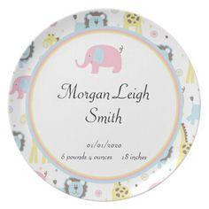 Baby Animals Pink Elephant Baby Girl Plate