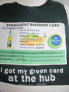 Corona Extra T Shirt Green Size XL Permanent Resident Green Card Siesta Key FL #HanesHeavyWeight #Graphic