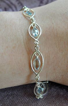 Silver + Aquamarine Bracelet | The Prancing Peacock Boutique