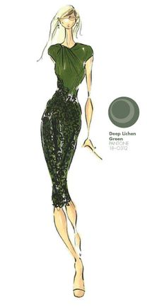 Pamella Roland by Pamella DeVos - PANTONE Color Deep Lichen Green - Pantone Fashion Color Report, Fall 2013