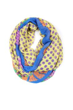 Yellow Blue Circle Scarf