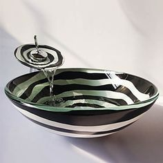 Spiral Round Tempered Glass Vessel Sink with Waterfall Faucet Round Sink, Waterfall Faucet, Glass Vessel Sinks, Bathroom Sink Faucets, Buying Wholesale, Pop Up, Decorative Bowls, Contemporary, Tableware
