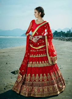 3446c3a9df3 Red bridal designer wear Punjabi Indian lengha choli in net Lehenga Style